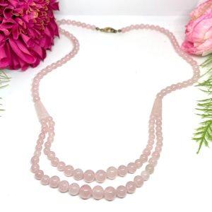 VINTAGE⚜️Genuine ROSE QUARTZ Beaded Necklace